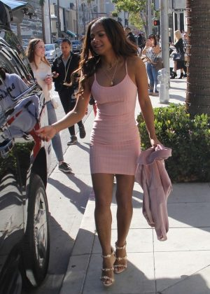 Christina Milian in Pink Mini Dress - Shopping on Rodeo Drive in Beverly Hills