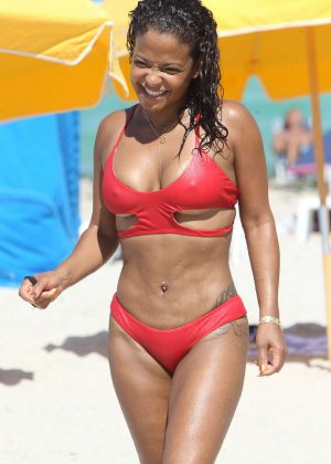 Christina Milian in Red Bikini on the beach in Miami