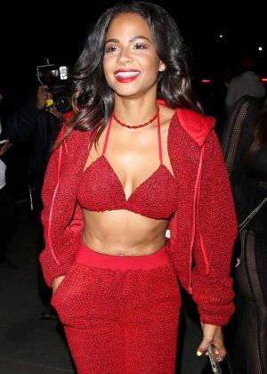 Christina Milian in Red Outfit - Leaving the Fashion Nova Party in LA