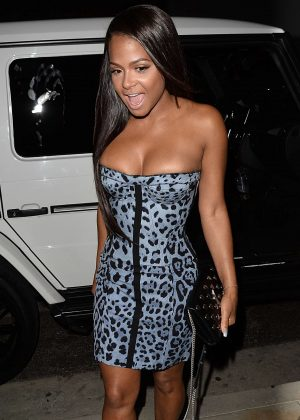 Christina Milian in Short Tight Dress at TAO in New York
