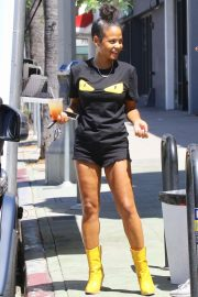 Christina Milian in Shorts and Boots - Out in Los Angeles
