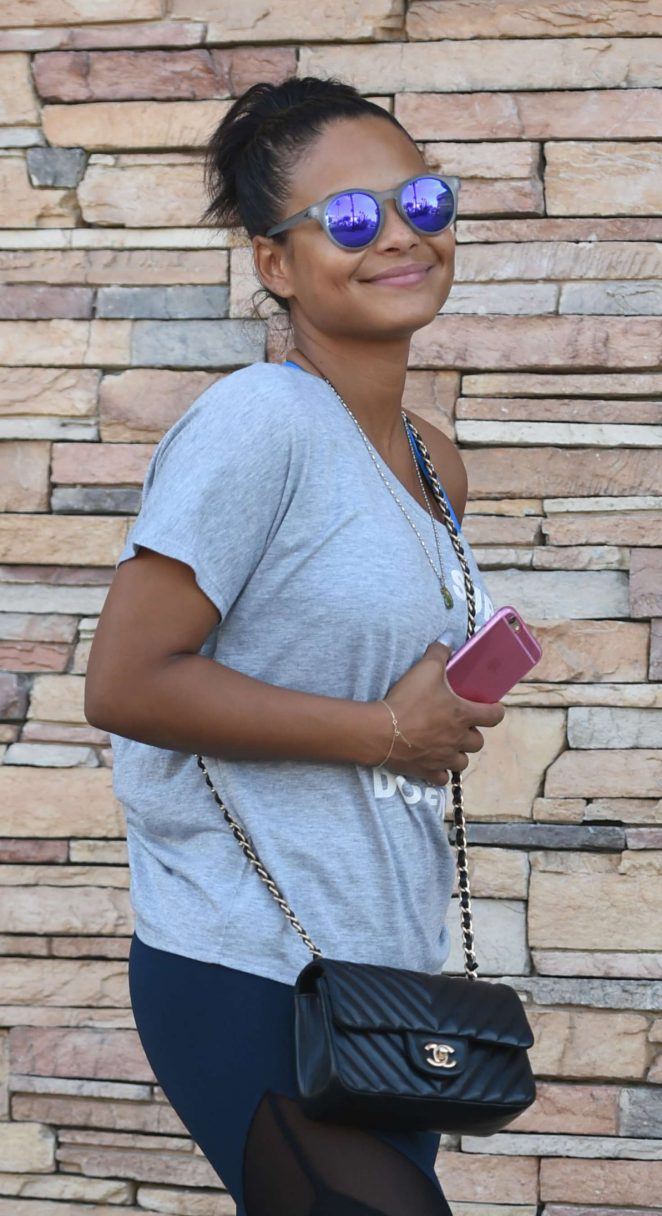 Christina Milian in Spandex out in Los Angeles