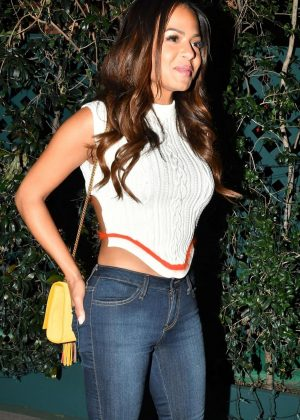 Christina Milian in Tight Jeans at Mr. Chow in Beverly Hills