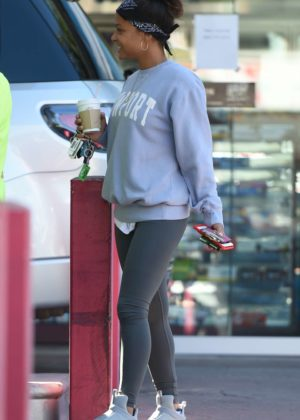 Christina Milian in Tights at a gas station in LA