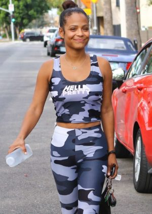 Christina Milian in Tights out in Los Angeles