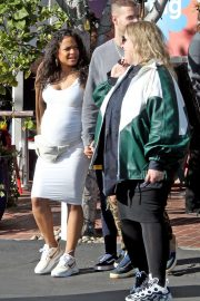 Christina Milian in White Dress - Leaving Mauro's Cafe in West Hollywood