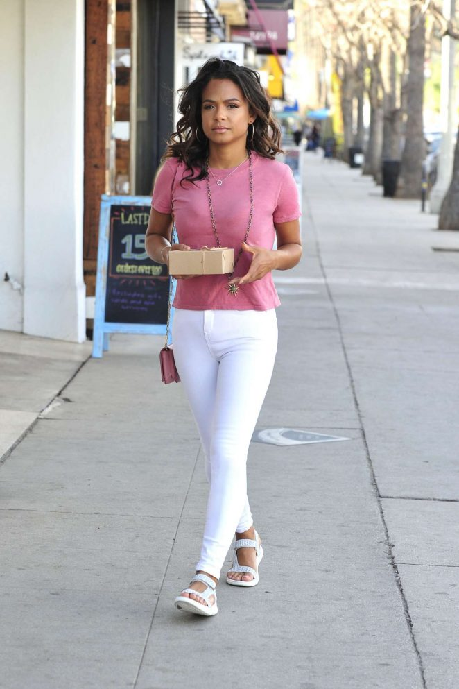Christina Milian in White Pants out in Los Angeles