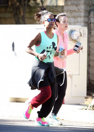 Christina Milian jogging with a friend in LA
