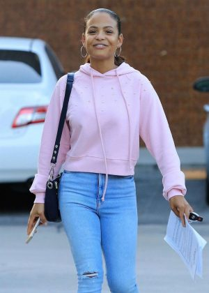 Christina Milian - Leaving the McPhee vocal studio in Studio City