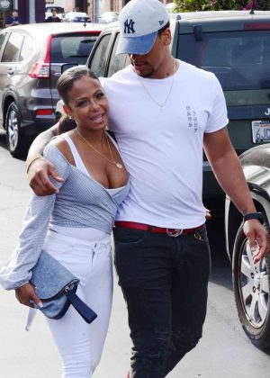 Christina Milian on a date with Brandon Marshall at Stout Restaurant in Hollywood