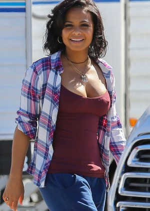 Christina Milian on the set of 'Grandfathered' in Los Angeles