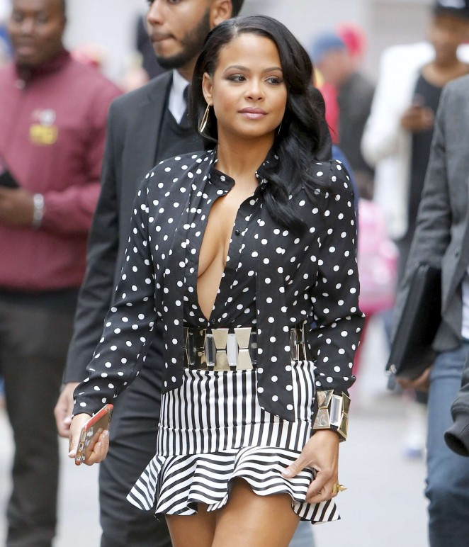 Christina Milian on the TV show 'Extra' in Times Square in NY