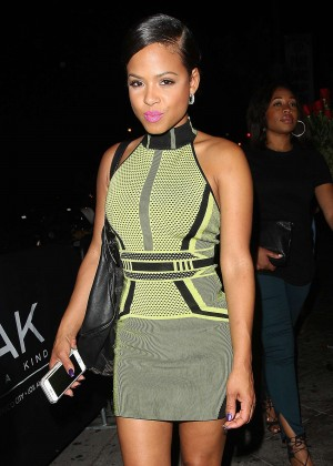 Christina Milian in Mini Dress at 1Oak Nightclub in LA