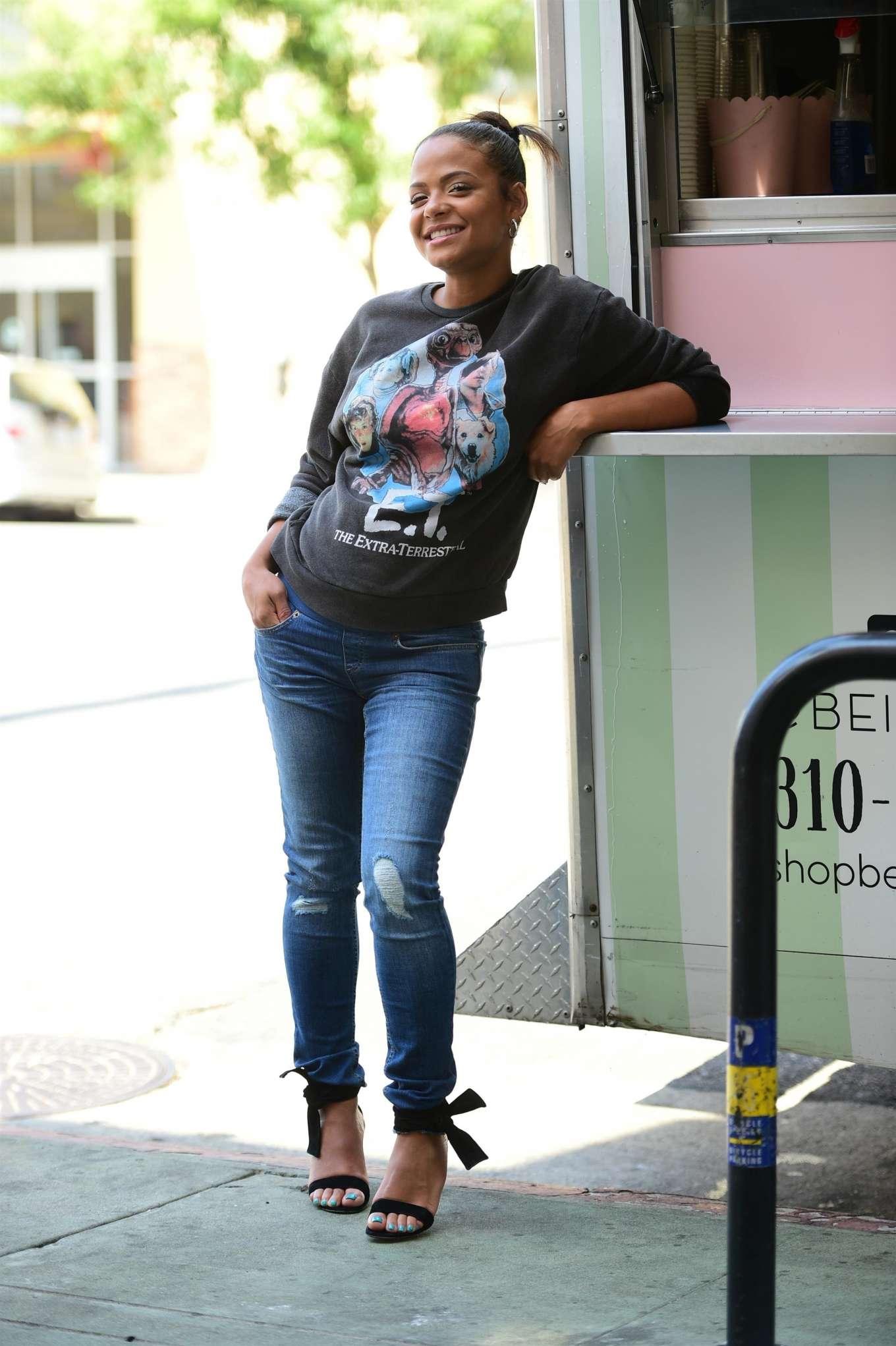 Christina Milian - Outside her Beignet Box truck in Studio City