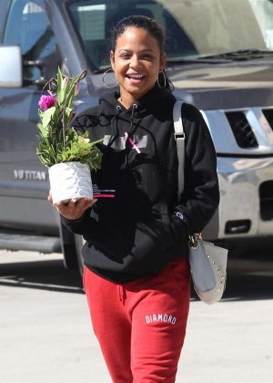 Christina Milian - Picks up flowers in Studio City