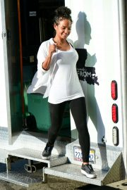 Christina Milian - Seen at a Beignet Box mobile unit in Los Angeles