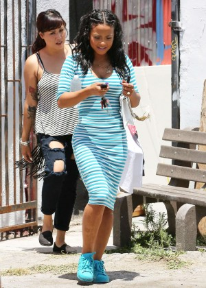 Christina Milian in Blue Dress Shopping at Free City in LA