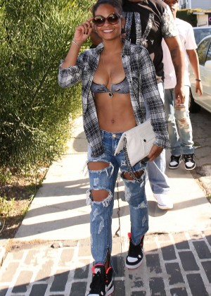 Christina Milian in Ripped Jeans Shopping on Melrose Avenue in LA
