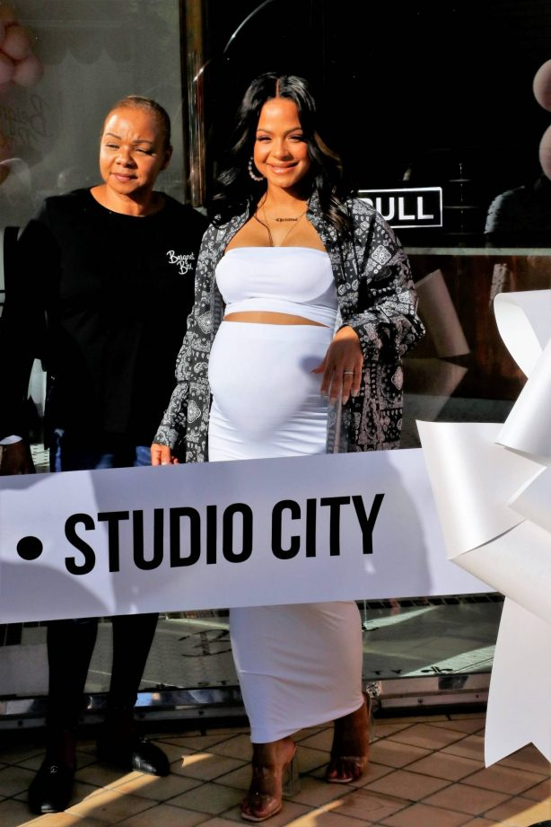 Christina Milian - With Nicole Williams at her Beignet Box Cafe grand opening in Studio City