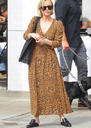 Christina Ricci in Animal Print Dress at Joan's on Third in Studio City