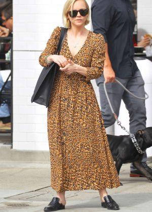 Christina Ricci in Animal Print Dress at Joan's on Third in Studio City