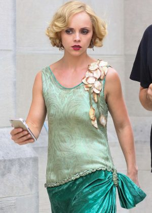 Christina Ricci on the set of 'Z: The Beginning of Everything' in New York