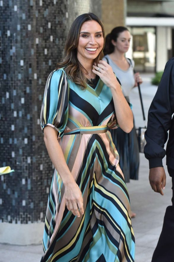 Christine Lampard filming for the Lorraine show in London