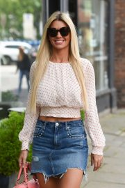 Christine McGuinness in Denim Skirt at KP Aesthetics Hair Removal Clinic in Cheshire
