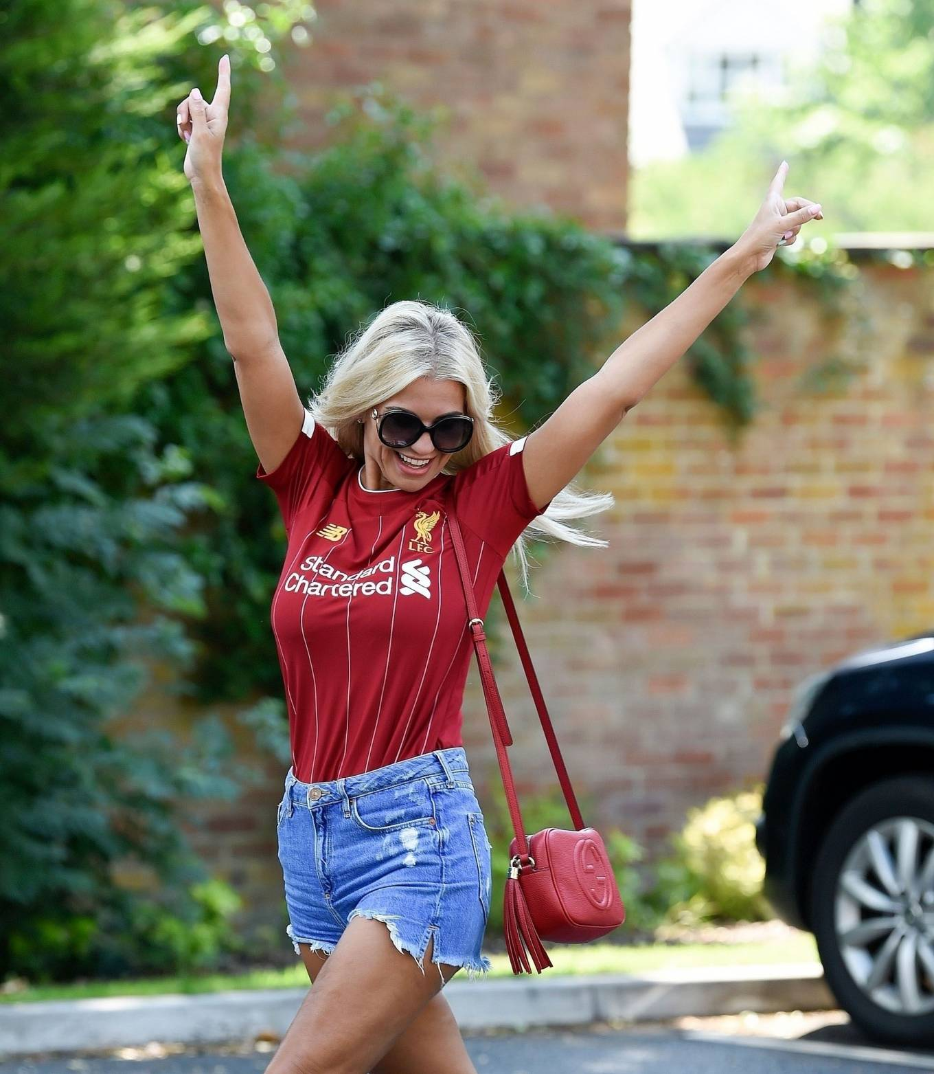 Christine McGuinness 2020 : Christine McGuinness in Jeans Shorts – Out and about in Cheshire-08