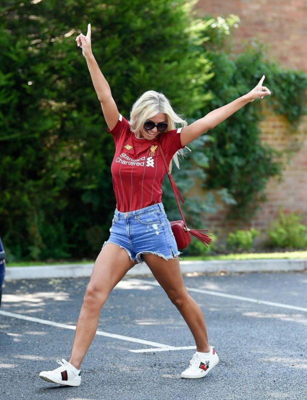 Christine McGuinness in Jeans Shorts - Out and about in Cheshire