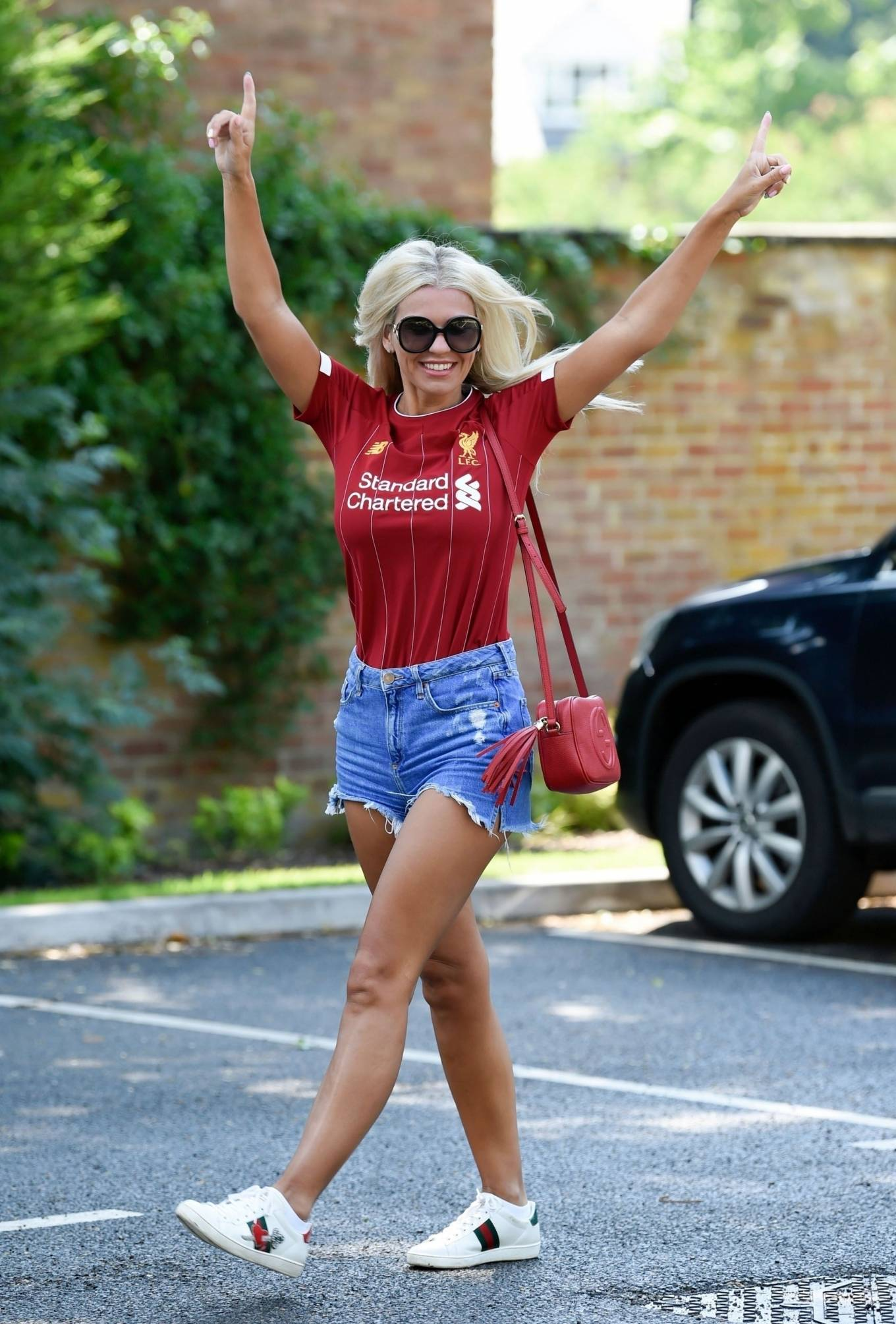 Christine McGuinness 2020 : Christine McGuinness in Jeans Shorts – Out and about in Cheshire-11