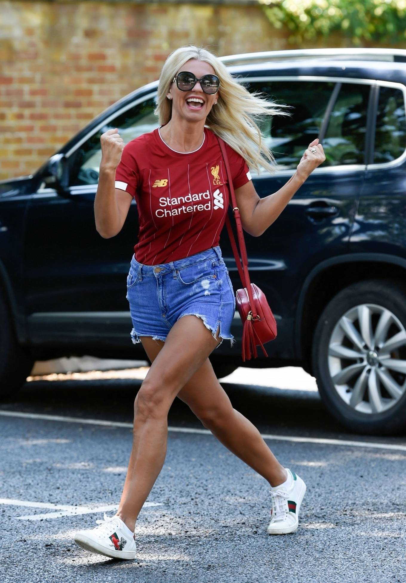 Christine McGuinness 2020 : Christine McGuinness in Jeans Shorts – Out and about in Cheshire-19