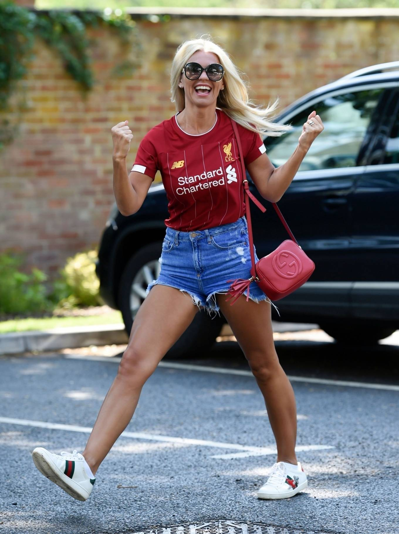 Christine McGuinness 2020 : Christine McGuinness in Jeans Shorts – Out and about in Cheshire-29