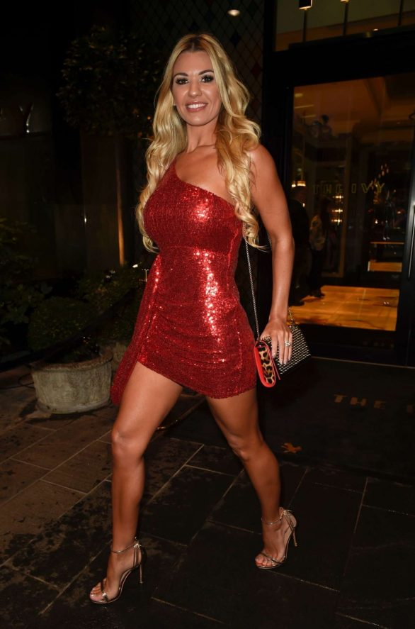 Christine McGuinness in Mini Dress at The Ivy Restaurant in Manchester