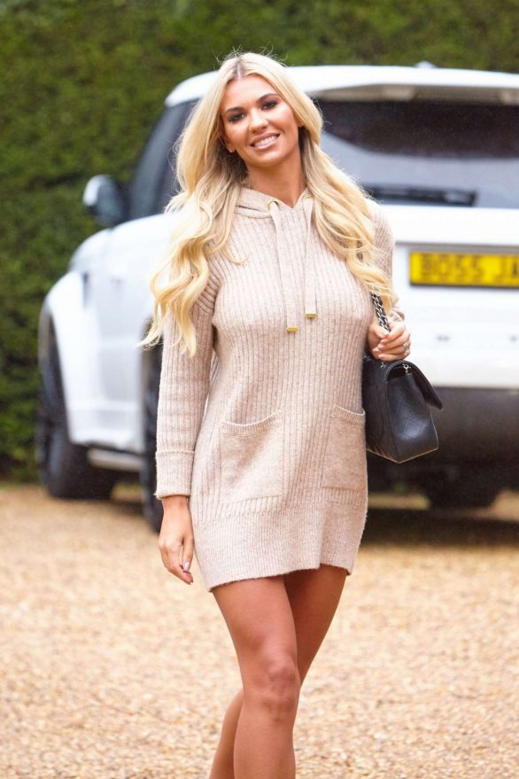 Christine McGuinness in Mini Dress - Leaves a photoshoot in Essex