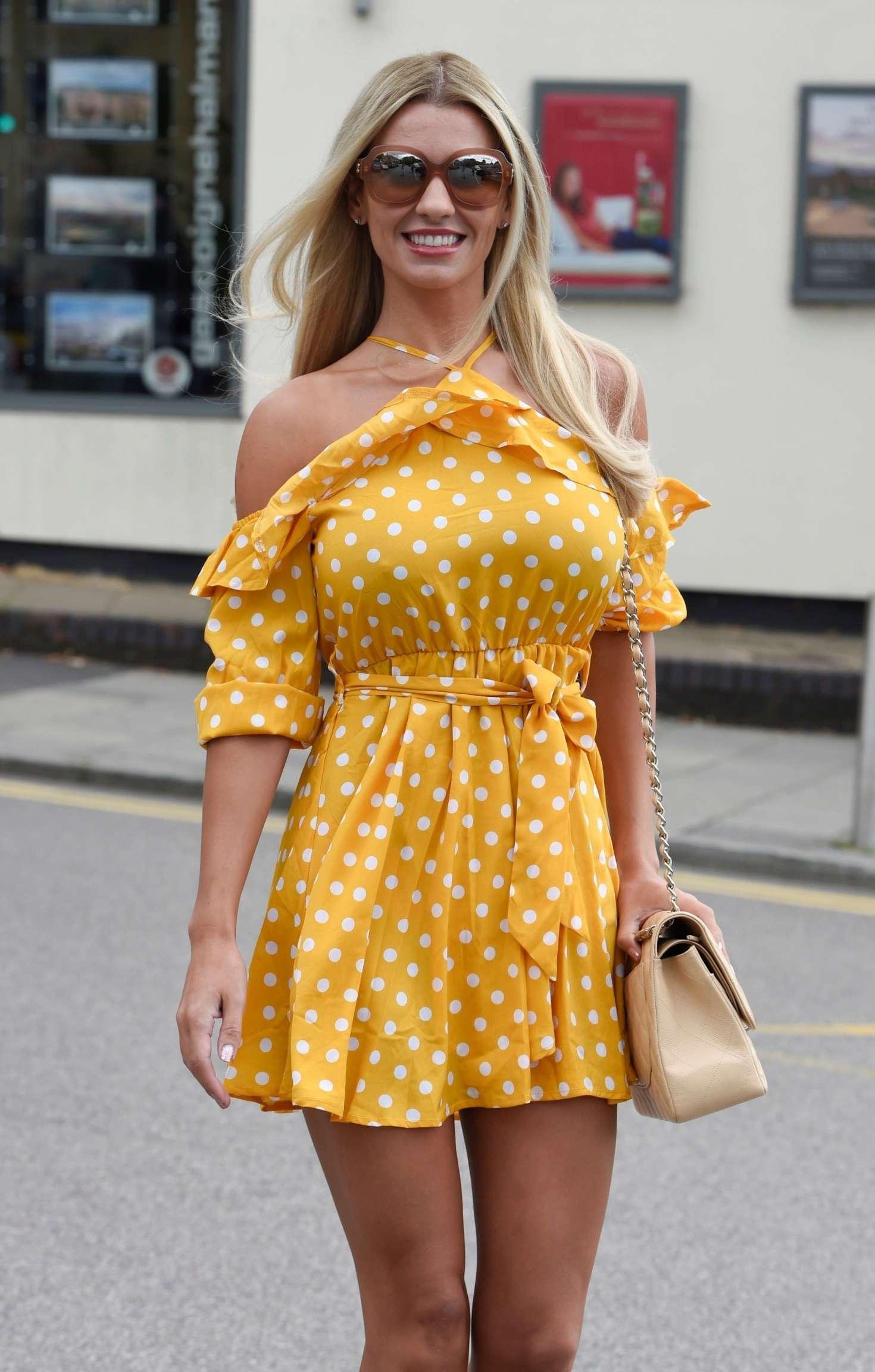 Christine McGuinness in Mini Dress - Leaves Hair Salon in Cheshire