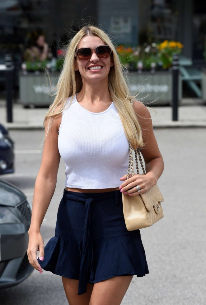 Christine McGuinness in Mini Skirt - Leaving The Style Lounge hair salon in in Cheshire