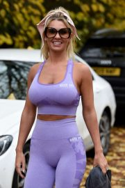 Christine McGuinness in Purple Workout Outfit - Leaves the gym in Cheshire