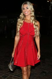 Christine McGuinness in Red Dress at Voices with Sally Morgan Podcast Launch in Camden
