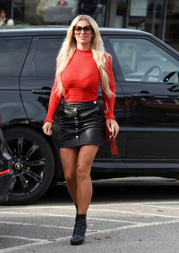 Christine McGuinness in Short Leather Skirt - Out and about in Cheshire