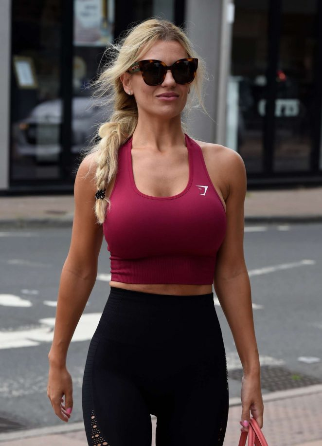 Christine McGuinness in Tights and Sports Bra - Out in Cheshire