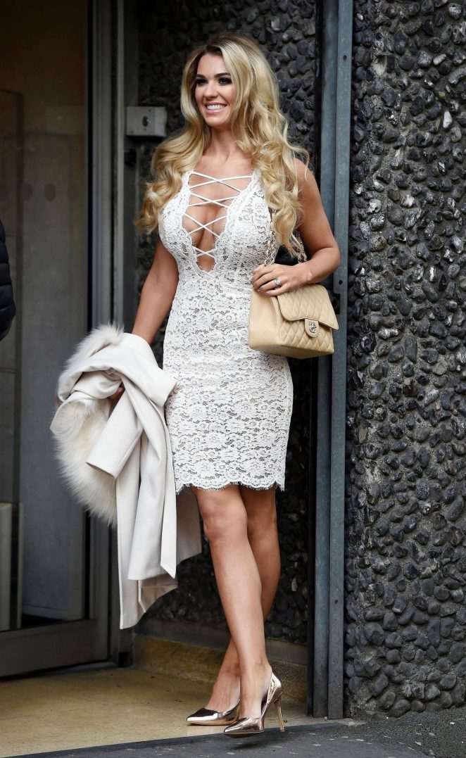 Christine McGuinness in White Dress out in Manchester