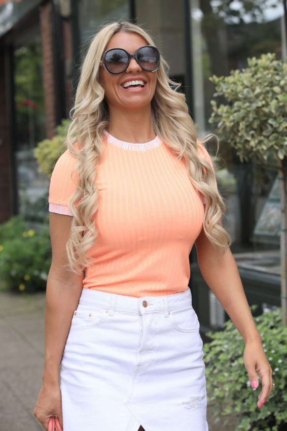 Christine McGuinness in White Mini Skirt - Out in Cheshire
