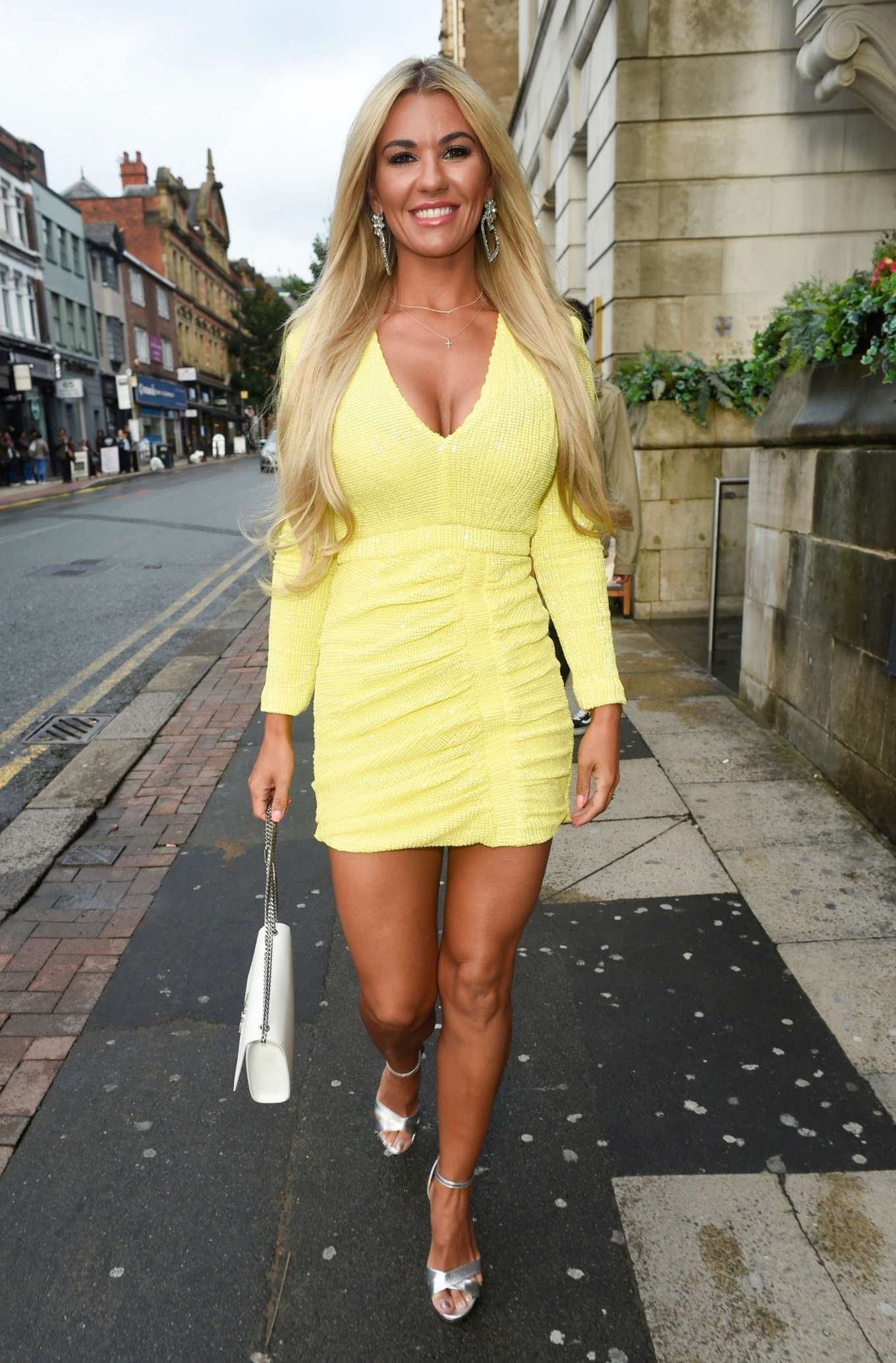Christine McGuinness in Yellow Dress - Out in Cheshire