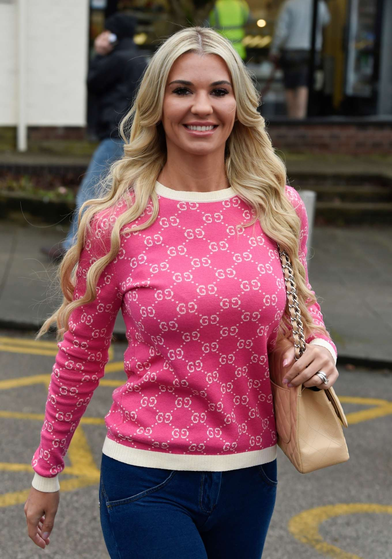 Christine McGuinness - Leaves The Style Lounge hair Salon in Cheshire