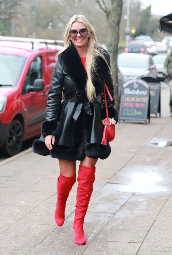 Christine McGuinness - Wearing red over-knee boots out in Cheshire