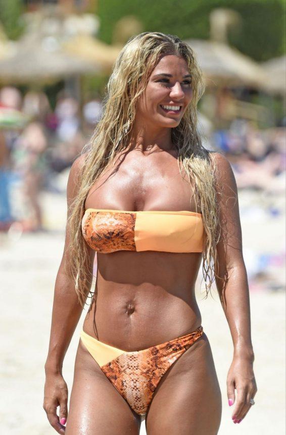 Christine McGuinness - Wears orange bikini on holiday in Spain