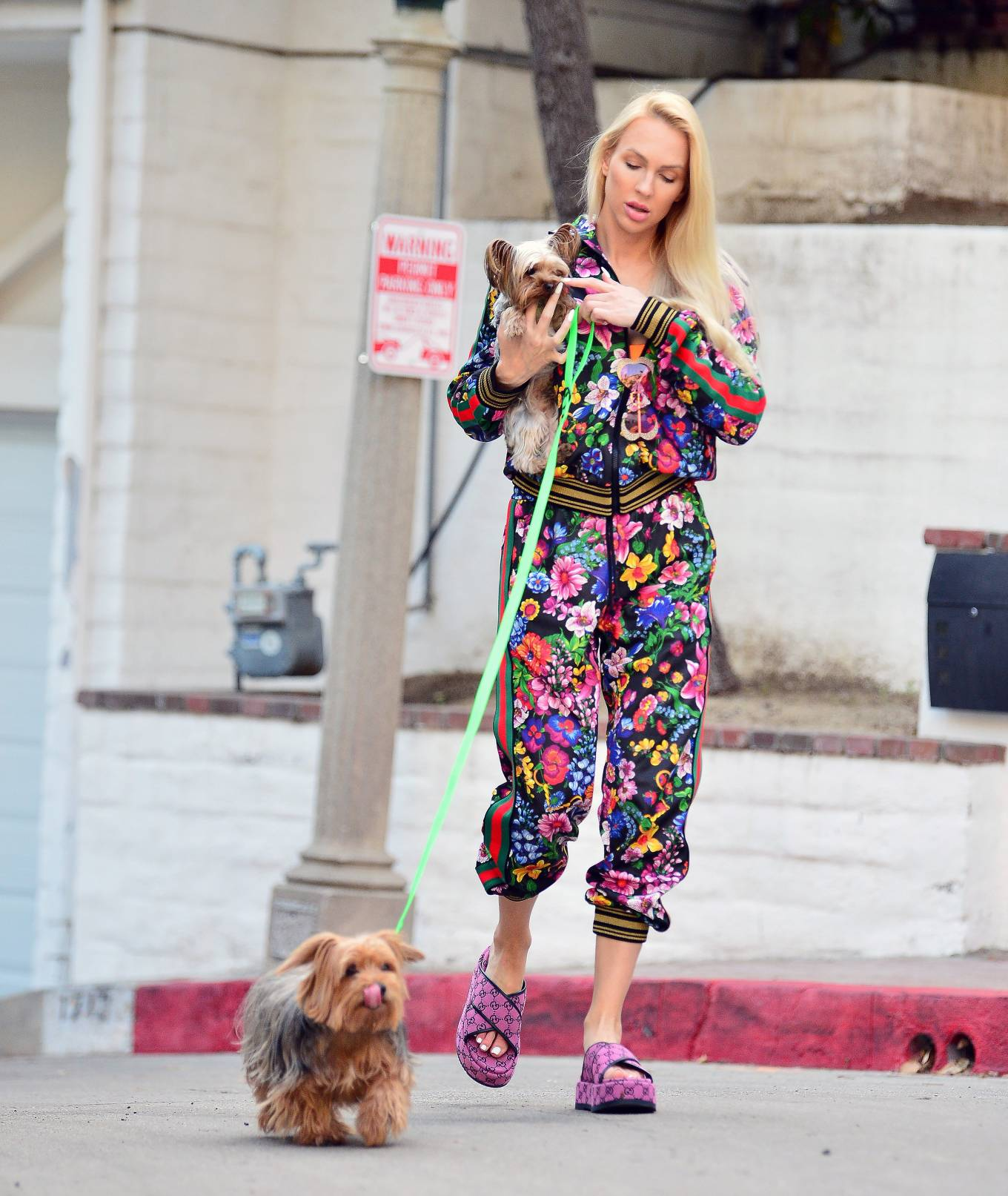 Christine Quinn - Dons a multi colored gucci track suit in Los Angeles