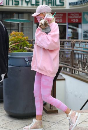 Christine Quinn - In pink with a friend and her pooch in Los Angeles