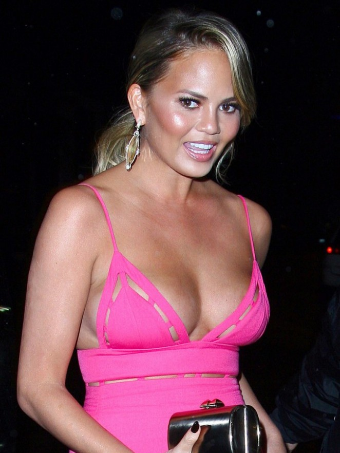 Christine Teigen in Pink Dress at Craig's Restaurant in West Hollywood